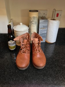 Excellent boots, being waxed. And Scotch, of course.