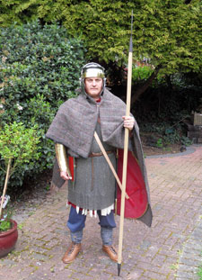 Anthony Riches in full Roman soldier garb in preparation for his charity walk of Hadrian's Wall in aid of Help for Heroes